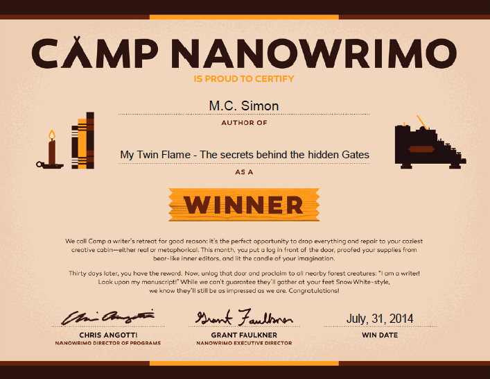Camp NaNoWriMo Winner - M.C. Simon
